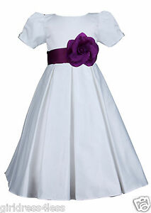 New Off White Pleated Short Sleeve Pageant Bridesmaid Wedding Flower Girl Dress
