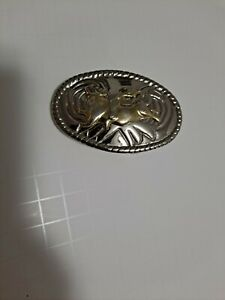 Western womens or kids belt buckle rodeo bull rider oval cowboy silver gold tone