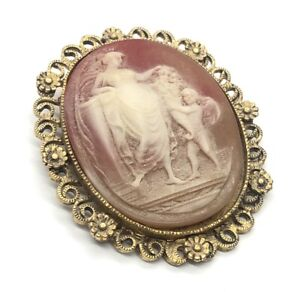 Vintage Brooch Pin Cameo Gold Tone Flower Large Detailed
