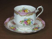 Royal Albert Bone China #1181 Hand Painted Cup and Saucer Pink Edge Gold Trim