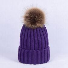 Children Kids Baby Boys Adult Winter Knitted Beanie Ski Hat Faux Fur Bobble Hats