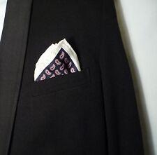 pocket hankerchief hankie silk blue paisley white border