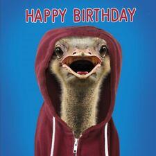 Lenticular 3D Birthday Card Ostrich in Hoodie Funny Bird Greeting Card NEW