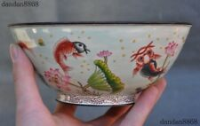 Marked Old Chinese Bronze Cloisonne Auspicious Lotus Fish Goldfish Tea cup Bowl