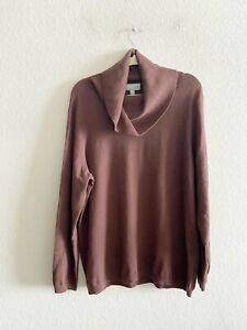 NWT Pure Collection Cashmere Cowl Neck Sweater Plus Women's Size 22 Brown