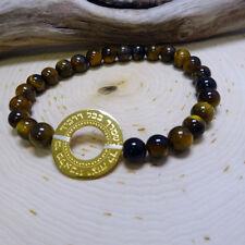 Gold Blessing Pendant Brown Beaded Bracelet