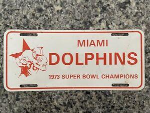 Vintage 1973 Miami Dolphins Super Bowl Champions License Plate RARE