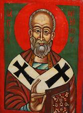 Small Orthodox Tempera On Wood Hand Painted Icon Saint Nicholas