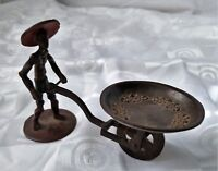 Cold Painted Bronze Figure Chinese Rice Farmer Wheelbarrow Sculpture Vintage