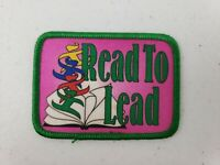 VTG Girl Scouts Juniors 1997 Read To Lead Patch Literacy Leadership Badge Green