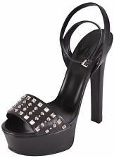 NEW Gucci Women's Black Leather Studded Leila Platform Sandals Shoes 37.5 7.5
