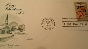 US SCOTT 1580 FDC-CHRISTMAS OF 1975-EARLY CARD BY LOUIS PRANG-WASHINGTON OCT 14