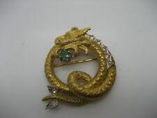 VINTAGE DRAGON BROOCH IN 18K YELLOW GOLD W/ DIAMONDS & EMERALD