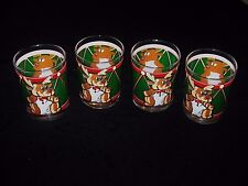 4 Georges Briard Christmas Glasses Double Old Fashioned  Green Drum~Reindeer