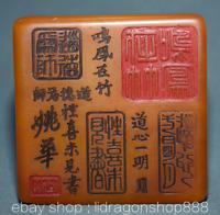 """4.2 """"Chine Naturelle Shoushan Stone Sculpté Textes Imperial Seal Stamp Signet"""