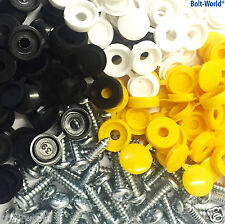128 x NUMBER PLATE CAR FIXING FITTING KIT HINGE CAPS SCREWS YELLOW WHITE BLACK