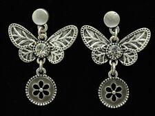 Dangle clear crystal Butterfly gray enamel round flower silver stud earrings E41