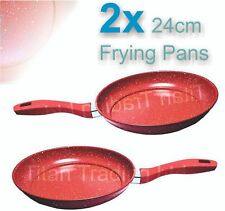 x2 - 24cm Marble Coated Non Stick Red Frying Pan Forged Cooking Frypan Induction