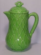 Vintage Ceramic 4 Cup Coffee Pot Schmid Folio Design Green Color Rope Pattern