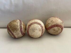 Vintage Baseball Set Three Red Stitching Collectible Warren Giles Spalding