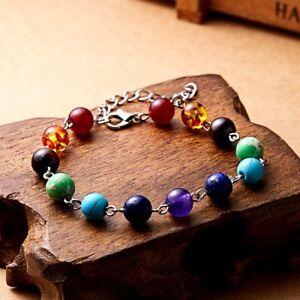 Women 7 Chakra Healing Beaded Bracelet Natural Lava Stone Silver Jewelry Bangle