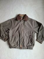 Mercedes-benz Men's Bomber Jacket Leather Trim Size Medium Lined Green