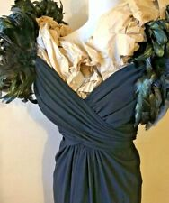 Lilli Diamond Black Vintage Feathers Lace Red Carpet Gown Tall Large One of Kind