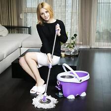 360° Easy Clean Floor Mop Bucket 2 Heads Microfiber Spin Rotating Head - Purple