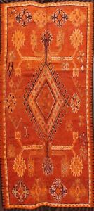 Antique Vegetable Dye Moroccan Orange Geometric Area Rug Hand-knotted WOOL 5x10