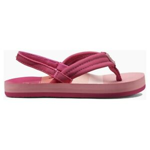 GIRLS REEF LITTLE AHI FLIP FLOP WITH BACK STRAP - PINK STRIPES - BNWT - RRP £16