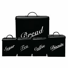 Canister Set 5 Piece Black Sugar Tea Coffee Biscuits Bread Kitchen Storage Set