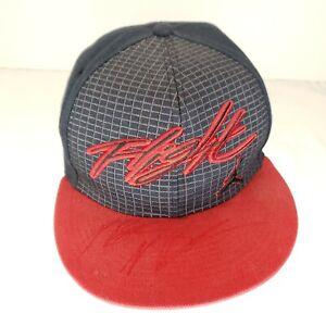 Air Jordan Flight Fitted Baseball Cap Size 7 Black Red Flat Bill Hat 457230010