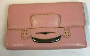 Tod's Pink Leather Tri Fold Purse Wallet
