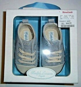 Ralph Lauren Layette Silver Suede Baby Boys Shoes Size 4 (9-12 month) new in box