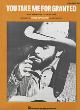 Merle Haggard sheet music You Take Me for Granted 1981 4 pages (NM shape)