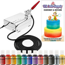 U.S. Cake Supply Complete Cake Decorating Airbrush Kit Compressor 12 Food Colors