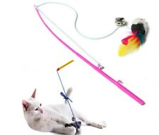 Kitten Cat Toy Mouse On A Rod Teaser Bell Feather Play Pet Dangler Wand NEW UK