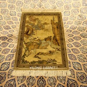 Yilong 2'x3' Waterfall Handcraft Carpets Tapestry Handmade Silk Area Rug 962H
