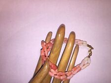 pre-owned varigated CORAL bracelet pink/peach/white tones 7 1/2 inch