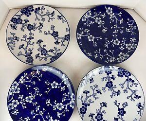Williams Sonoma Japanese Garden Blue White Floral Dinner Plates Set Of 4