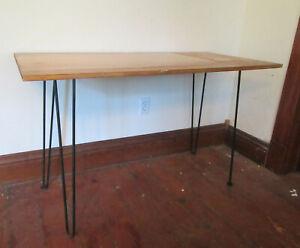 "Vintage MCM Mid Century Modern Hairpin Legs Light Wood Table 48"" x 24"""