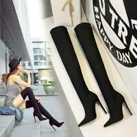 Womens Ankle Boots Stiletto High Heels Pumps Pointed Toe Ladies Nightclub Shoes