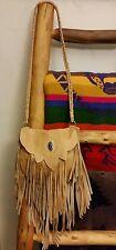~Stunning~Handmade Leather Fringe Bag w/ Turquoise*Native Rainbow*ETSY~*$229$~