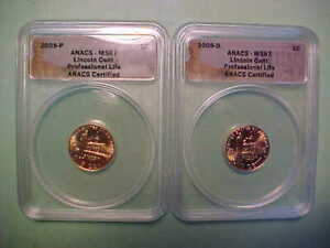 2009 P & D  Lincoln Cents Professional Life *ANACS MS67* Total - 2 Coins