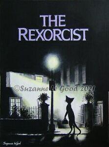 Devon Rex cat art The Exorcist horror painting original acrylic Suzanne Le Good