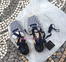 Navy Zara Checked Espadrilles New 5 37 Lace Up Leather Flats Sandals White BNWT