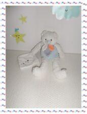 V - Doudou Peluche Ours Blanc Bleu Mouchoir Les Gommettes Baby Nat