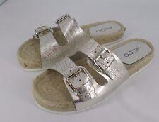 Aldo Buckle Metallic Sandal With Espadrille Sole UK 4 EU 37 Js33 42 Sales