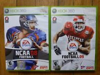 USED (Complete) - NCAA Football 08 + 09 - Xbox 360 - Lot of 2 - Free Shipping