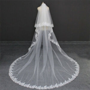2 Layers Lace Edge Bridal Veils for Brides with Comb Long Luxury 3 4 5 Meters